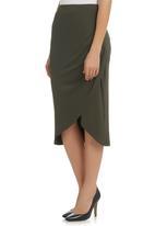 STYLE REPUBLIC - Side-gathered Midi Skirt Dark Green