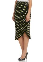 STYLE REPUBLIC - Polka-dot Side-gathered Midi Skirt Multi-colour