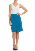 KARMA - Front Slit Skirt Turquoise