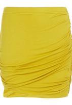 STYLE REPUBLIC - Gauged Mini Skirt Chartreusse