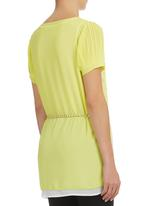Suzanne Betro - Burnout Blouse with Chain Belt Yellow