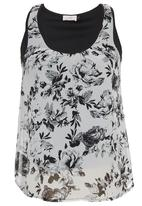 edit - Floral-Print Cami Black/White