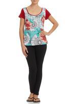 Smash - Abstract Flower T-shirt Multi-colour