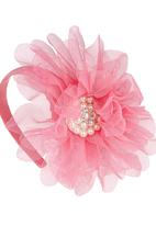POP CANDY - Mesh Floral Alice Band Pink