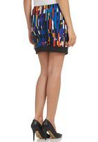 STYLE REPUBLIC - Digital-Print Asymmetrical Skirt Black/Blue