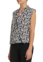 KARMA - Fold Wrap Blouse Black/White