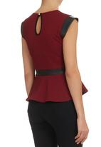 London Hub - Jacquard peplum top with leatherette panels Red