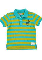 POLO - Striped Golf T-shirt Turquoise