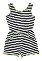 Precioux - Girls Striped Playsuit Black/White