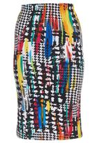 edge - Abstract Midi Pencil Skirt Multi-colour