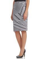 edge - Midi Pencil Skirt Black/White