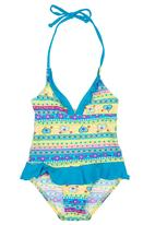 Lu-May - Heart-print One-piece Costume Multi-colour
