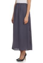 STYLE REPUBLIC - Maxi Side-slit Skirt Dark Grey