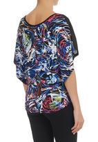 edit - Swirl-print Batwing Top Multicoloured