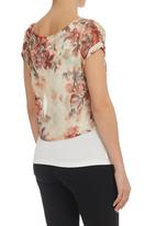 STYLE REPUBLIC - Floral Boxy Top Stone