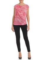 edge - Burn-out draped top Pink