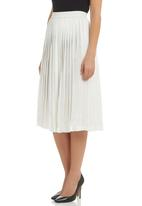 Clive Rundle - Knife-pleat Skirt White