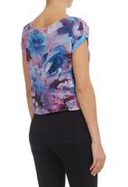 STYLE REPUBLIC - Purple Floral Boxy Top Mid Purple