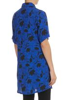 edit - Printed Shirt Tunic Cobalt