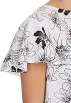 LAZULI - Floral Frill crop top Black/White