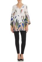 G Couture - Leaf-print Top With Beaded Neck Multi-colour