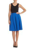 London Hub - Textured Pleated Skirt Dark Blue