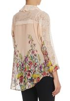 STYLE REPUBLIC - Lace Inset Shirt Blush/Multi-colour