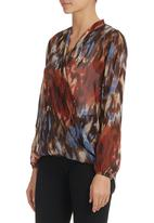 Mishah - Floral Crossover Chiffon Top Multi-colour