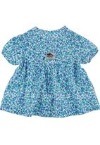 Just chillin - Floral Button-up Top Mid Blue