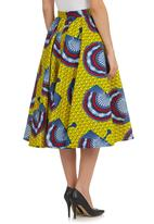 AfroDizzy - African-print Fit and Flare Skirt Multi-colour