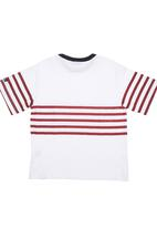 Phoebe & Floyd - T-shirt with Red Stripes White
