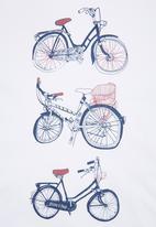 Phoebe & Floyd - T-shirt with Retro Bike Print White