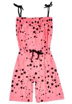 Sam & Seb - Girls Playsuit with Stars Mid Pink