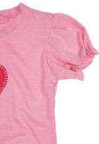 Sam & Seb - Heart T-shirt with Puff Sleeve Mid Pink