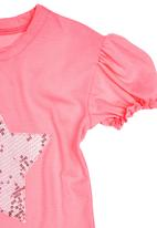 Sam & Seb - Girls T-shirt with Sequinned Star Mid Pink