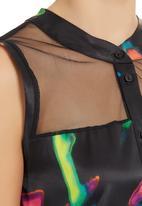 AfroDizzy - Kaftan tunic with mesh inset Black