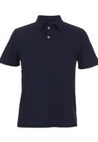 edited - Self Collar Golf Shirt Navy
