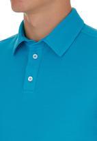 edited - Self Collar Golf Shirt Turquoise