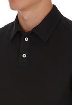 edited - Self Collar Golf Shirt Black