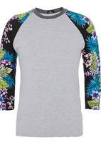 STYLE REPUBLIC - Floral Henley T-shirt Grey