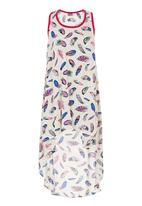 MICHELLE LUDEK - Feather print tunic top with dipped back Multi-colour