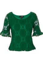 Suzanne Betro - Green lace blouse Green
