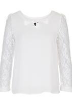 Suzanne Betro - Chiffon Lace-sleeve Blouse White