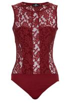 STYLE REPUBLIC - Lace Bodysuit Red