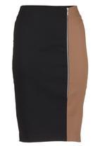 edit - Colourblock Pencil Skirt Black/Tan