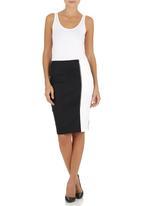 edit - Colourblock Pencil Skirt Black/White Black and White