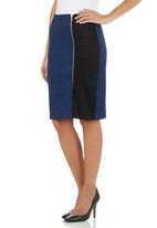 edit - Colourblock Pencil Skirt Black/Navy
