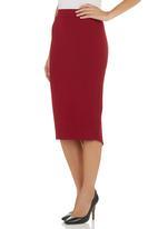 Suzanne Betro - Midi Ponte Skirt Red
