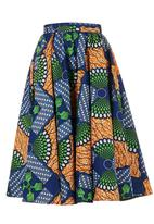 AfroDizzy - African-print Midi Skirt with Navy Band Multi-colour