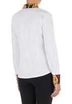 AfroDizzy - Kitty-bow Blouse with African-print Detail Multi-colour